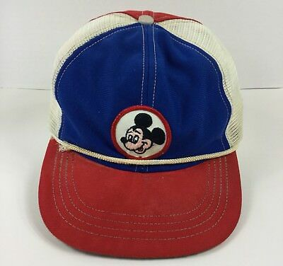 b2b49b7f Disney Mickey Mouse Patch Hat Vintage Red Blue Snapback Trucker Cap Made USA