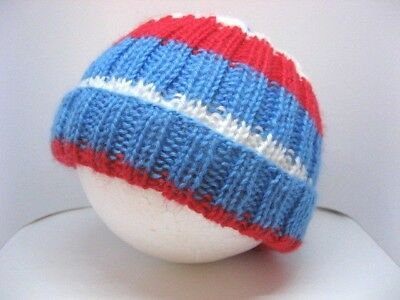 Hand knitted 'Western Bulldogs' football baby beanie to fit 0-3 months