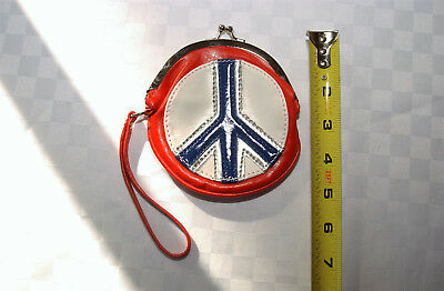 Red, White and Blue Peace Sign Hippy Hippie style Vinyl Coin Purse