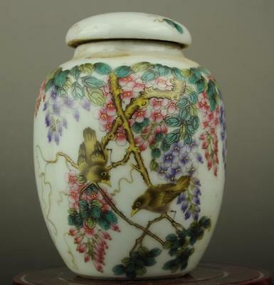 Chinese old famille rose porcelain Hand painted bird and flower Cover pot b02