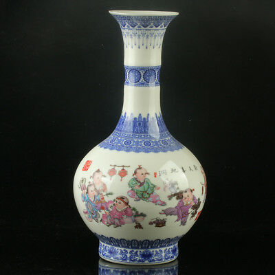 Chinese Porcelain Hand-Painted Children Vase Mark As The Qianlong Period R1144
