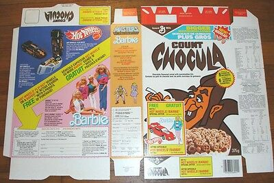 1986 Count Chocula Monster Cereal Box FLAT Barbie Doll Hot Wheels toy offer