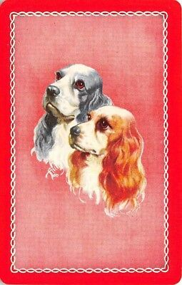 Spaniel Dog Heads Single Swap Playing Card Vintage Blank Back Red