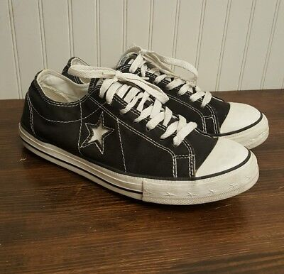 Converse Chuck Taylor One Star Low Top Women Size 9 Black Canvas White Star