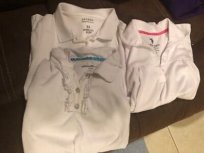 Preowned Assorted Girls Uniform Short Sleeve Shirt  size 14-16