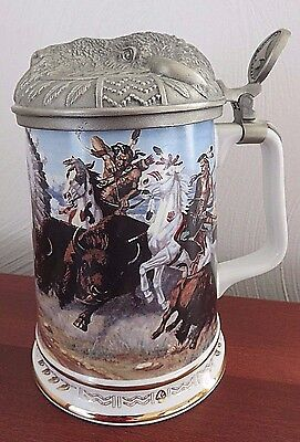 Warriors of The Plains Thundering Hooves 1991 Hamilton Collection Stein