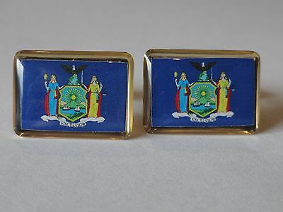 New York State Flag Cufflinks--United States of America USA US Patriotic NYC