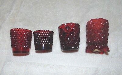 lot 4 ruby red hobnail diamond home interior votive cup candle