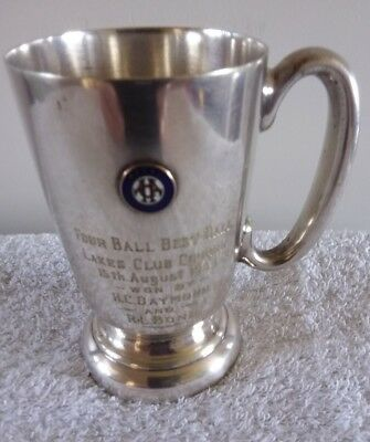 Antique Silver Plated Cup Golf Trophy 1935 Lakes Club Course Royal ACA 1/2 Pint
