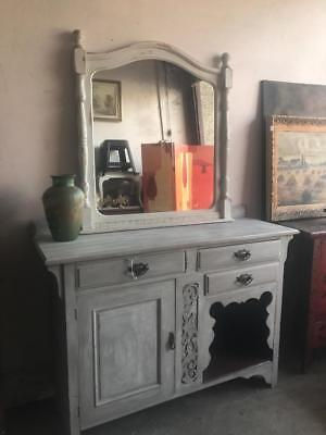 Vintage French Provincial Country Hand Painted Carved Oak Sideboard / Buffet