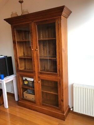 Solid Timber Bookcase with Glass Doors - Beautifully Crafted