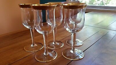Five Tiffin Franciscan Gilded Crystal Sherry / Liquor Glasses