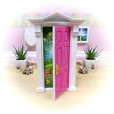 PINK GLITTER OPENING FAIRY DOOR Removable Background - HANDMADE in Australia