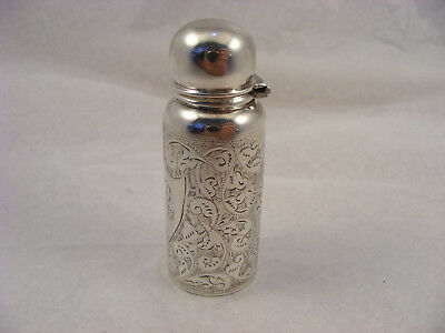 Solid Silver scent bottle with bottle inside, B'Ham 1901