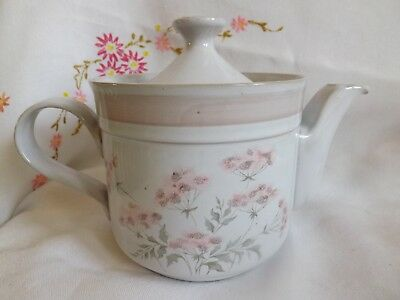 "Beautiful Denby Pottery Hand Crafted ""brittany"" Pink Floral 1.5 Pint Tea Pot"
