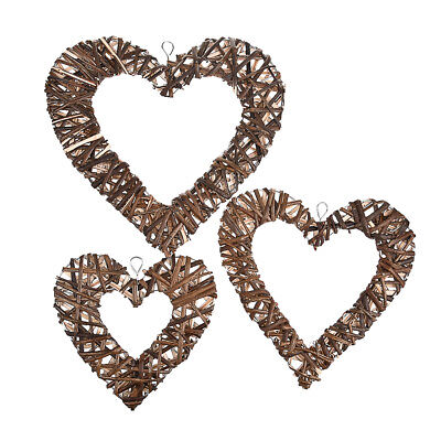 Handmade Wicker Willow Woven Heart Shaped Ornament Wall Hanging Craft Home Decor