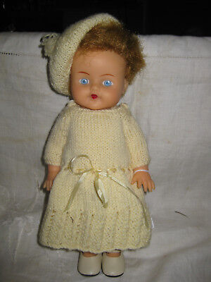 """Vintage 10"""" Vinyl  Pedigree Doll In Knitted Outfit"""