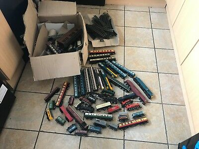 Job lot of model trains, carriages, track and other bits.