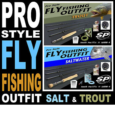 South Pacific READY-TO-FISH Fly Fishing Outfit Combo SALT or TROUT rod reel line