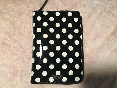 Kate Spade Black White Patent Personal agenda planner polka dots Zip Around