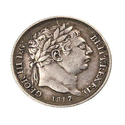 George III Milled Silver Sixpence 1817 FV