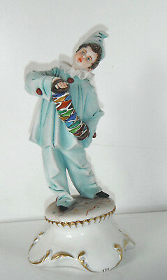 Vintage CAPODIMONTE Figure CLOWN Playing Accordian with Lace Collar IPA