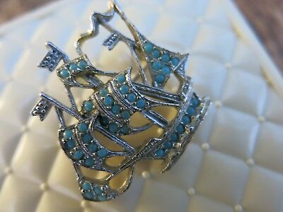 Vintage 'Sphinx' Clipper Ship Turqoise Studded Brooch