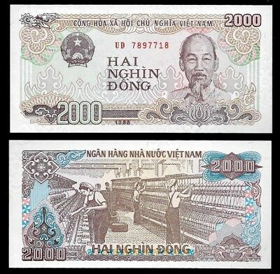 VIETNAM 2,000 (2000) Dong, 1988, P-107, UNC World Currency