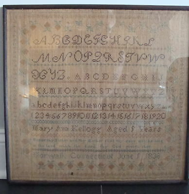 Antique American Sampler Dated 1838 No Reserve