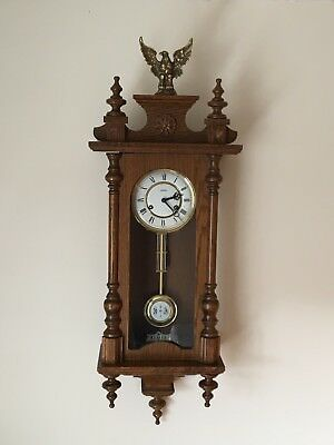 Oak Cased Vienna Style Wall Clock With Glass Sides