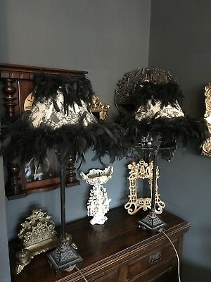 Vintage Style French Pair Of Tall Black Feathered Boudior Lamps