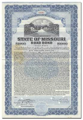 MIssouri Road Bond Certificate Signed by Governor Guy Brasfield Park