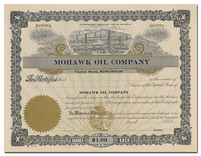 Mohawk Oil Company Stock Certificate (Kentucky)