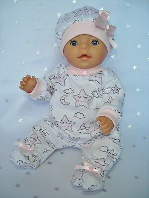 """Dolls clothes for 17"""" Baby Born doll~ PINK SLEEPY MOON & STARS JUMPSUIT & HAT"""