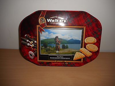 Walkers Assorted Shortbread Biscuit Tin '' Scottish Piper At Loch Lomond ''