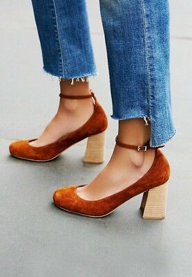 049000a6e56 Free People X Jeffrey Campbell Delta Heel Rust Suede Ankle Buckle Size 8