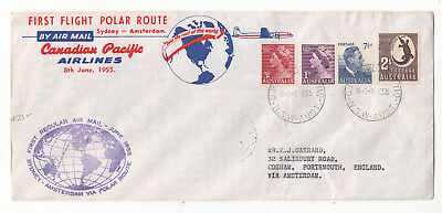 F.f.c.   Sydney To Amsterdam Via Polar Route Canadian Pacific Airlines 1955