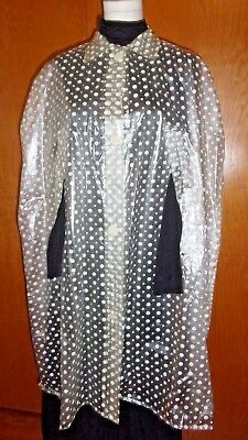 Women's Vtg Raincoat Rain Poncho Vinyl Clear See Through White Polka Dot Taiwan