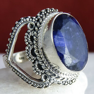 GRANULATED LACE Vintage Ring US 8.75 SILVERSARI 925 Stg Silver INDIAN SAPPHIRE