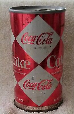 Vintage Harlequin Diamond 12oz Coca Cola Juice Tab Soda Can INDOOR
