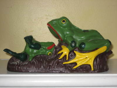 Vintage Cast Iron Frog Coin Bank - Works, Has Iron Plug, Numbered #8