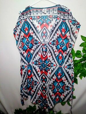 79a9a9a3451aa Becca by rebecca virtue womens medium l swim cover up top blue white red  Aztec