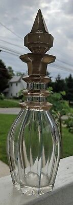 Antique Cut Glass Decanter Gold Gilt 19th Century
