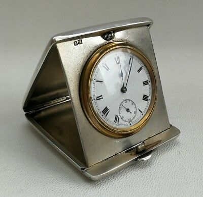Vtg 1913 Grey & Co Art Deco Solid Silver Case Folding Pocket Travel Watch Clock