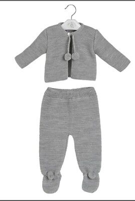 Traditional Spanish Style Baby Boys and Girls Grey Knitted Pom Pom Outfit