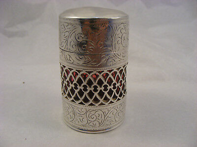 Solid Silver Scent bottle with ruby red glass bottle inside BHam 1904 G E Walton