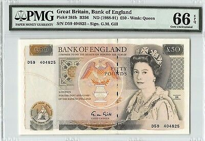 Great Britain ND (1988-91) P-381b PMG Gem UNC 66 EPQ 50 Pounds (Gill)