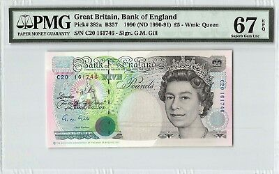 Great Britain 1990 (ND 1990-91) P-382a PMG Superb Gem UNC 67 EPQ 5 Pounds (Gill)