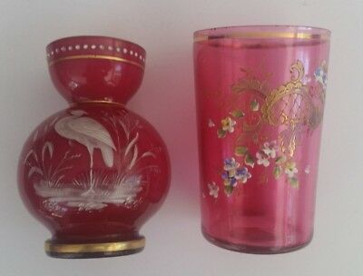 Guilt Moser tumbler and  Cranberry Pink Cased Glass Enamel Decorated w Crane