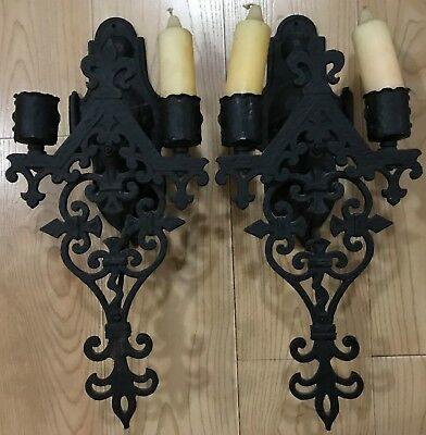 """Vintage Wrought Iron Wall Sconces - BIG & Heavy!  16"""" Tall! - Cool Gothic!"""
